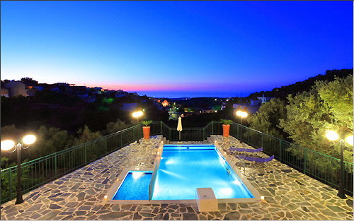 Themis I - Swimming pool and sea view at dusk